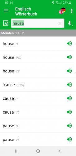 Screenshot der aktuellen Wörterbuch Advanced App