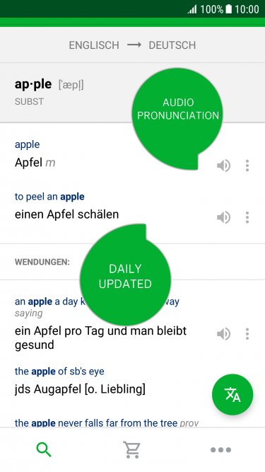 PONS Dictionary App daily updated and pronunciation function