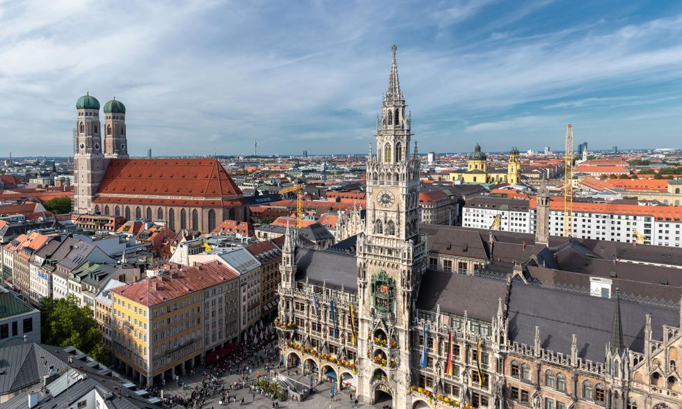 Marienplatz in München Drohnenaufnahme