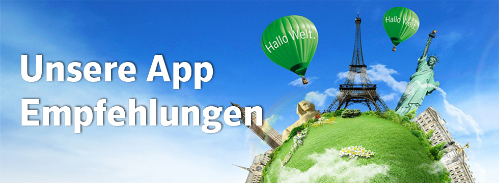 PONS Header World with famuous sights noting our App recommendation