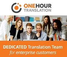One hour translation hader with logo with people