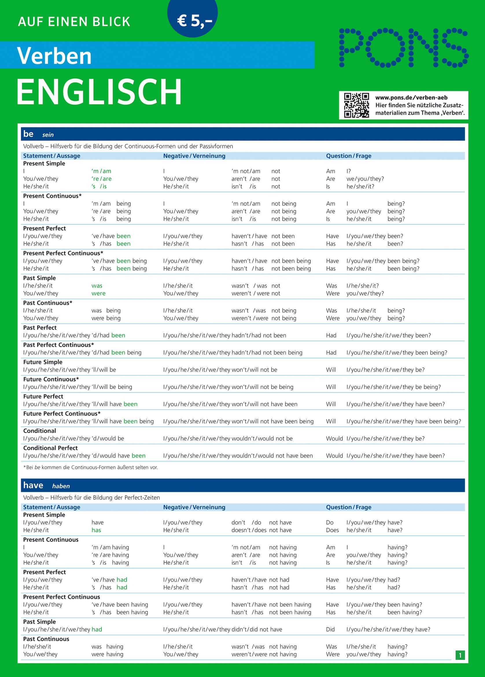 Englisch Verben Tabelle